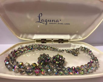 Laguna Carnival Aurora Crystal Glass Necklace Earring Set | Vintage Jewelry Set | Aurora Borealis Glass Beads | Unique Gift | Fancy Gift