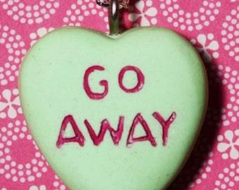 Rockabilly Psychobilly Candy Heart  Message Pendant Necklace  - Go Away- Green