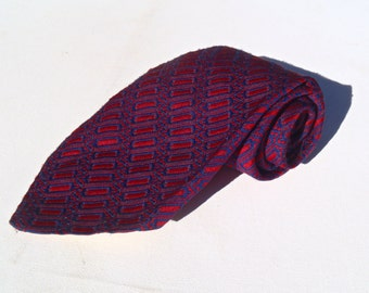 Vintage 1970s Wide Red Polyester Tie with Blue Patterned Stripe by