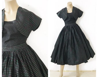 1950's reversible 3 piece black party dress ensemble with green and pink lurex shimmer. Stripes and polka dots. Size XS.