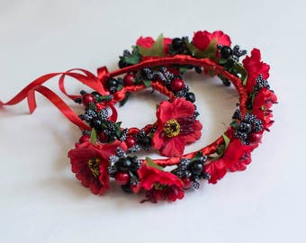 """Hoop and bracelet with poppies. Ukrainian wreath and bracelet. Set of hair ornament """"Red Poppy""""."""