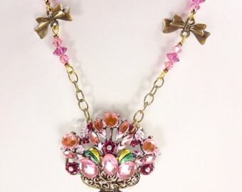 Cottage Chic Petite Flower Basket Brooch Necklace Pinks Purples and Bows