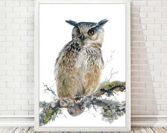 Owl Art Print from Original Watercolor Painting Bird Art Boy Room Decor Picture Owl Wall Art Haloween Decor Nursery Print Gift For Him A102