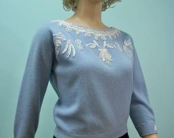 1950s Blue Beaded Sweater . Vintage Sweater with Zipper Back . White Sequins and Beads . M L