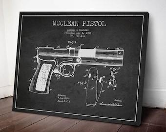 1903 McClean Pistol Patent Canvas Print, Gun Patent, Pistol Print, Patent Art, Wall Art, Home Decor, Gift Idea, WE02C
