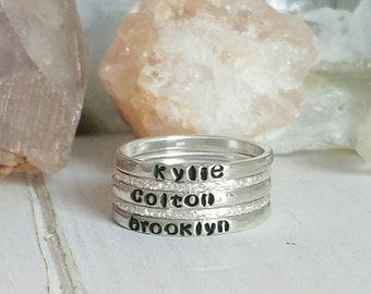 Set Of 5, Sterling Silver Stackable Name Rings, Personalized name ring, Custom name ring, Stacker rings, Name ring, 3 name rings 2 add ons