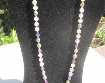 Polished Rose Quartz and Amethyst Bead Necklace with Flowered Cloisonne Accent Beads