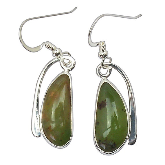 Green Australian Opalite and Sterling Silver Dangle Earrings, eoplf2511