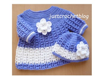 Crochet Angel Dress and Pull on Hat Baby Crochet Pattern (DOWNLOAD) 152BFJC