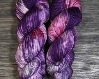 Hand Dyed Yarn - 'Guinevere -' Superwash Merino Nylon Fingering Sock Yarn pink coral fuschia plum 420 yards
