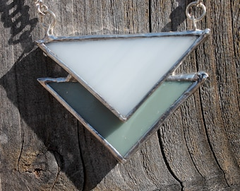 Layered Stained Glass Necklace - Reversible White/Green-Gray