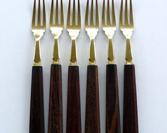 6 Vintage Brass and Wood Forks Appetizer Forks Small Party Forks Brass Flatware Cutlery with Wooden Handles Pickle Forks Cheese Forks