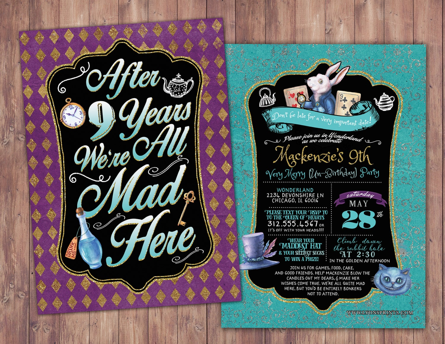 Mad Hatter Tea Party Alice in Wonderland Invitation anniversary