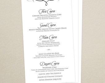 Wedding Reception Dinner Menu - Elegant, Script, Classic - Personalized Wedding Menu Card - Custom Colors Available