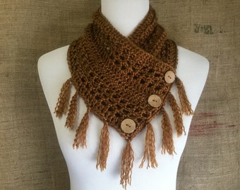 Crochet cowl shawl scarf soft with fringe and buttons copper brown