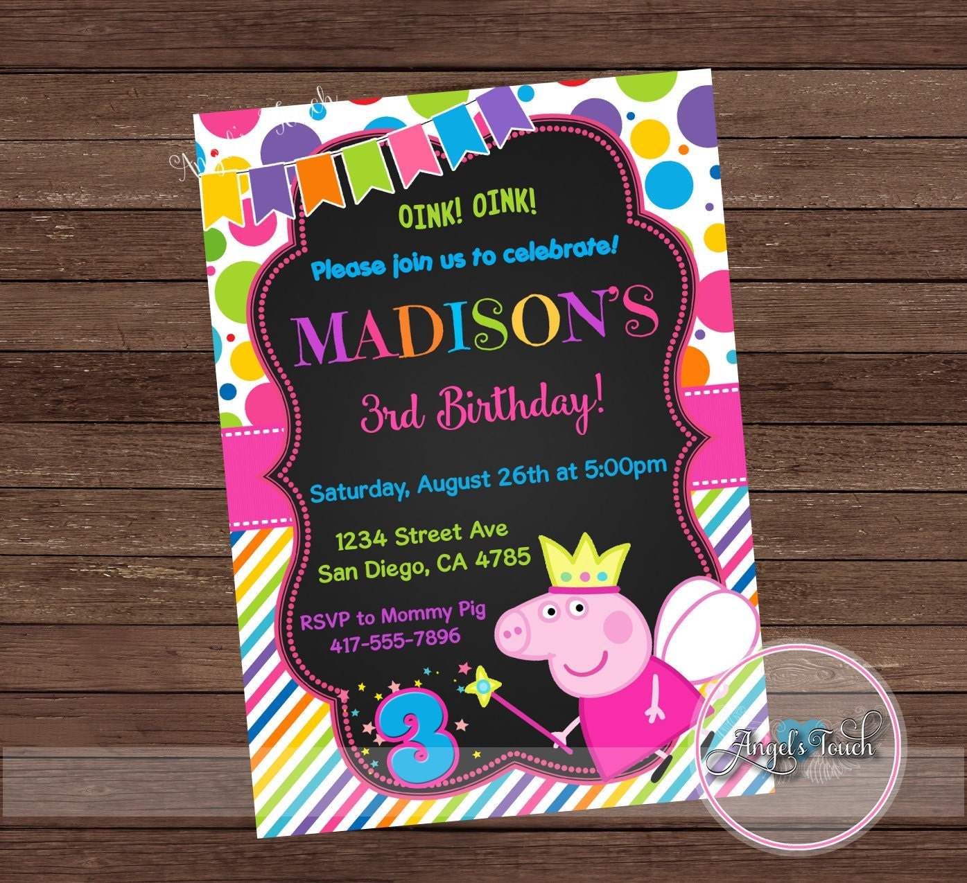 Peppa Pig Fairy Party Invitation, Peppa Pig Birthday Invitation ...
