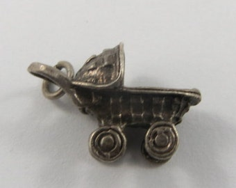 Baby Stroller Sterling Silver Vintage Charm For Bracelet
