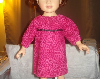 18 inch Doll peasant dress in hot pink Leoprad print - ag04