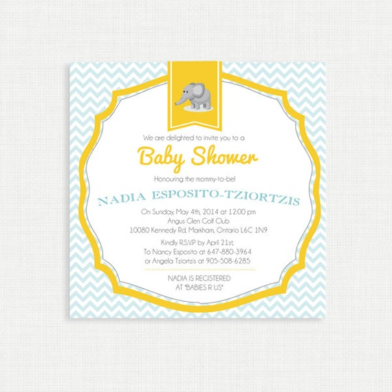 Printable Baby Shower Invitation-Elephant Baby Shower Invitation, Chevron Gray and Yellow, Digital, Printable Template DIY