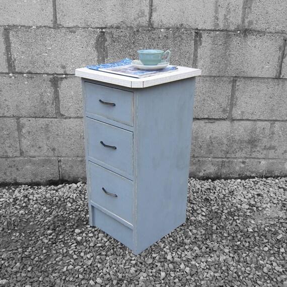 Vintage Formica Drawers Painted Grey Storage Cabinet Mid Century