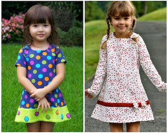 Girls Dress - A line Dress with Raglan Sleeves - PDF sewing Pattern for Jersey Knit Fabric, toddler dress sewing pattern