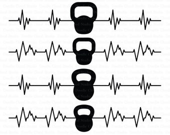 Heartbeat Kettlebelles SVG files for Silhouette Cameo and Cricut. Cardiogram Fitness SVG. Heart beat Weights Clipart PNG included