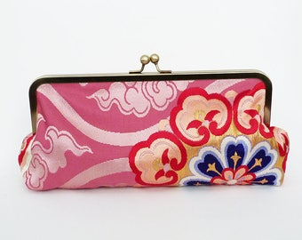 Clutch bag, Japanese obi fabric, pink and gold decorative evening purse