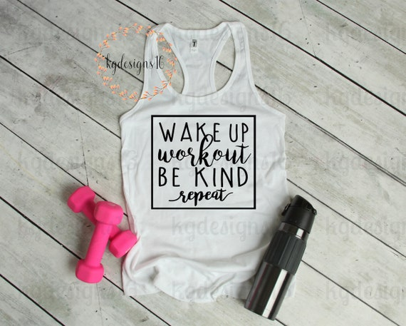 Wake Up Work Out Be Kind Training Tank Top-Be Kind Workout Shirt-Womans Motivational Fitness Tank Top-Workout Tank-Bella Canvas Flowy