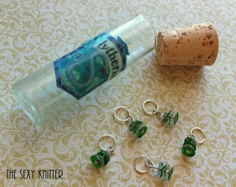 Slytherin Sequined Stitch Markers - set of 5 for your knitting project bag