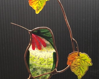 Hummingbird with maple fall coloured Leaves stained glass suncatcher