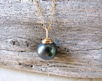 Single Pearl Pendant, Black Pearl Pendant, Black Pearl Necklace, Gold Capped Pearl Pendant, One Pearl on Chain, Single Pearl on Chain