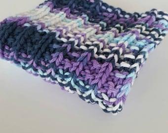 Kitchen Dishcloth, Hand Knit Dishcloth, Cotton Dishcloth, Knit Washcloth, Multicolor Dishcloth, Purple, Navy, White, Blue Dishcloth