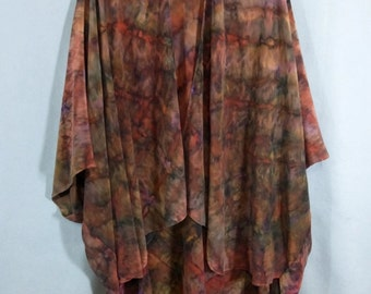 "Silk Ruana Cape ""Rust and Brown Blend with Purple"", Hand Painted Silk Jacket"