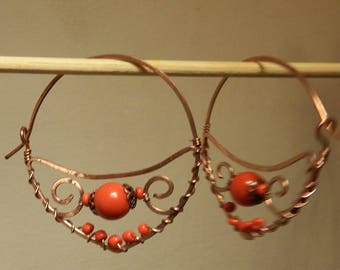 hoop earrings in copper and stone color coral red