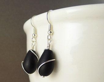 Black sea glass earrings wire wrapped earrings black seaglass earrings sea glass jewelry sea glass jewelry wire wrapped jewelry handmade