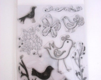 Rhonna Farrer for Autumn Leaves NATURE Birds~DESTASH Rubber Stamps~Used rubber stamps~used acrylic planner stamp set