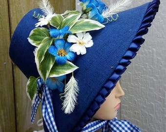 Bright Navy 1860s Poke Bonnet