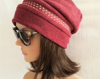 Stylish Beanie / Hat polka dot / Hat / Hat Original / wool Beanie / Burgundy Hat