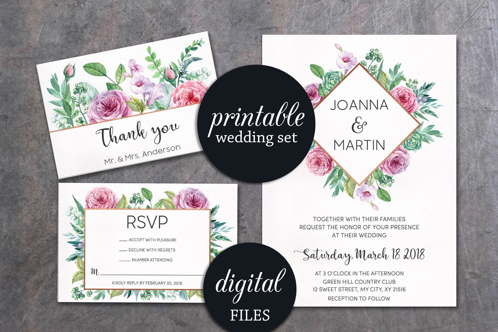 Greenery Wedding Invitation Geometric Wedding Invite Printable