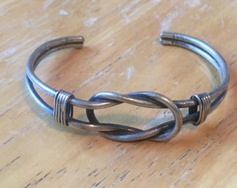 Nautical Sailor's Square/Reef Knot Cuff Bracelet in Sterling Silver .925 made in Mexico