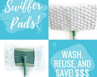 MADE TO ORDER Crochet Swiffer Pad , Pick Your Color, 100% Cotton, Set of 2, Reusable Cover, Mother's Day, Green Cleaning Dust Mop