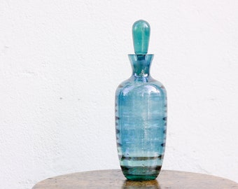 Blue glass decanter, vintage barware booze bottle, glassware home decor, housewarming gift
