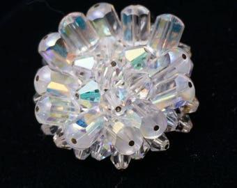 Vintage Mid Century Aurora Borealis Crystal Cluster Brooch