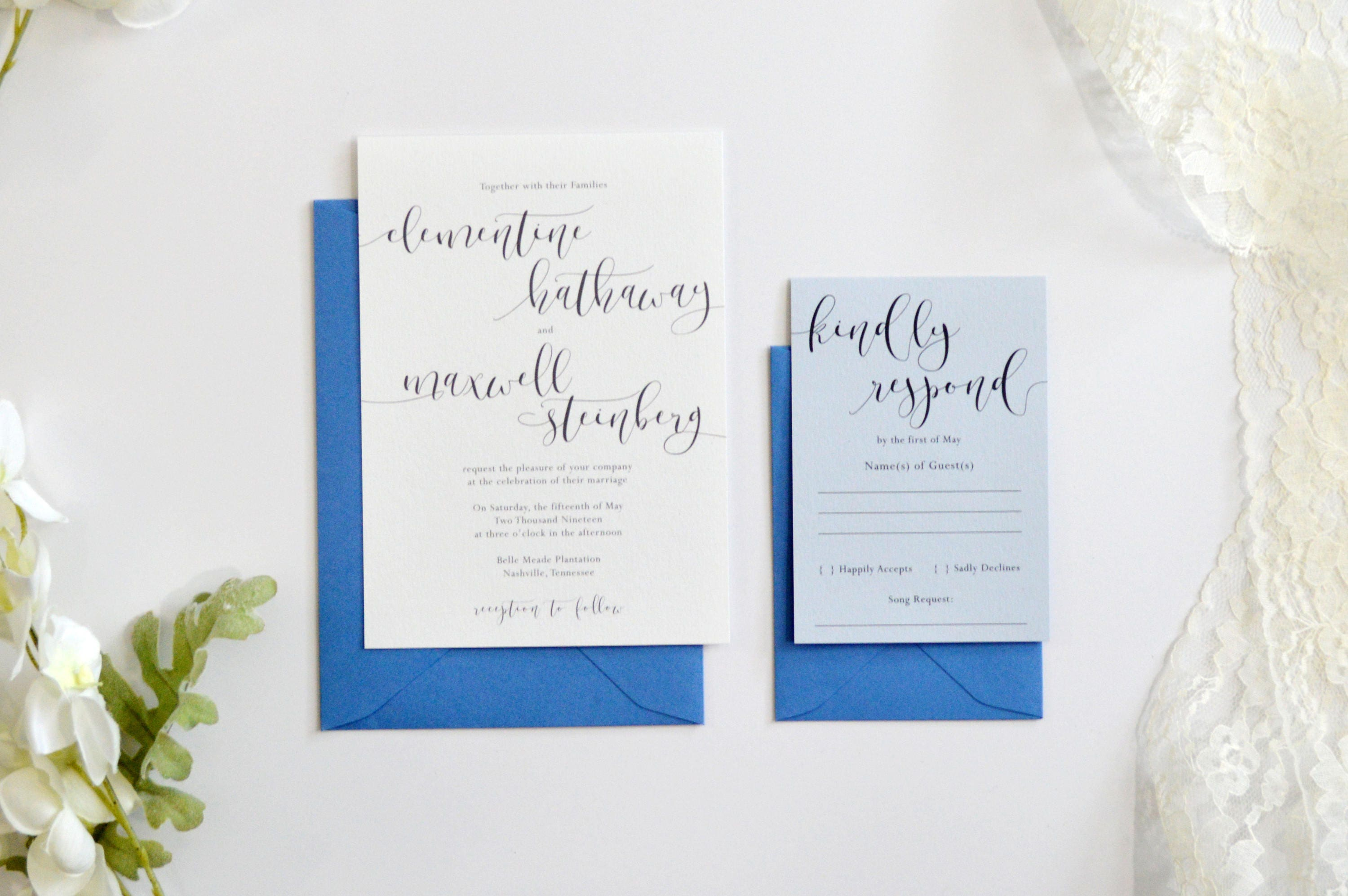 Dusty Blue Wedding Invitation Wedding Invitations Blue