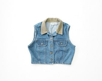 90s Crop Top 1990s Jean Jacket Cropped Denim Sleeveless Shirt Top Punk Soft Grunge Shirt Midriff Normcore / Small / Medium / Large
