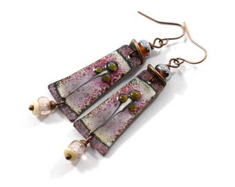 Handmade Raspberry and Purple Earrings, Enameled Earrings, Raspberry Earrings, Copper Earrings, Artisan Earrings, Boho Earrings, OOAK, AE132