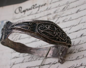 French Antique sterling silver ornate bracelet hand made bracelet solid silver  Ethnic jewelry bracelet