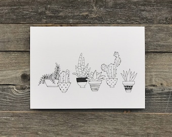 Succulent and Cactus Art Print | Art Print | Succulent and Cactus | Gifts for the Home | Gifts for Her | Black and White | Potted Succulents