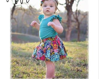 Poppy Skirt, Sizes NB-24M, PDF Children's Pattern, baby girl skirt, box pleat skirt, pleated skirt, digital clothing pattern, baby clothing