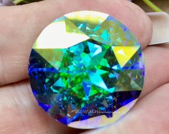 27mm Genuine Swarovski Clear Crystal AB, 1201 Round Crystal, Available With or Without Setting, Beading & Jewelry Making, Crystal Setting
